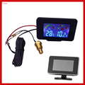 New 2 Funtion 12v/24v Lcd Screen Car Truck Voltmeter Voltage Gauge + Water Temperature Gauge Thermometer