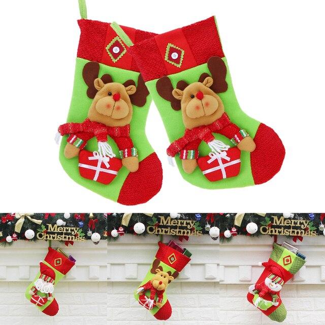christmas stockings gift bag presents elk snowma santa claus pattern sock gift holders christmas ornaments - Santa Claus With Presents