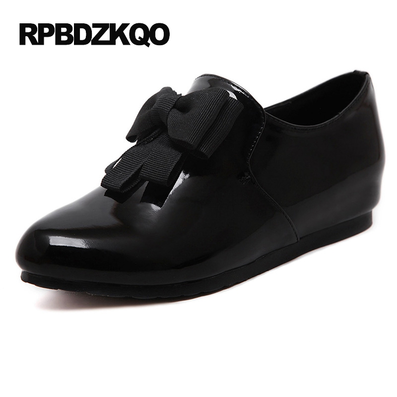 Black Flats Hidden Women Shoes With Little Cute Bowtie Japanese School Large Size Round Toe Slip On Bow Patent Leather 10 Drop plus size 34 41 black khaki lace bow flats shoes for womens ds219 fashion round toe bowtie sweet spring summer fall flats shoes