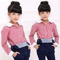 2016 nova primavera outono Crianças Meninas Meninos Lapela malha longo-sleeved camisa confortável bonito Roupa do bebê Roupa Das Crianças