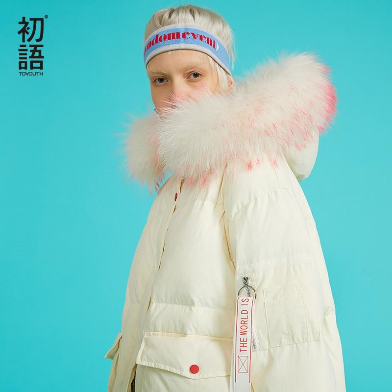 Toyouth утка вниз фугу пальто хорошее качество дамы вниз пальто утолщение дамы длинное пальто Harajuku толстовки на молнии Верхняя одежда 2018