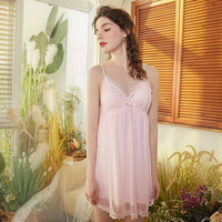 Sexy Night Dress Sleeveless Nighties V neck Nightgown Plus Size S XL Nightdress Lace Cotton Sleepwear Nightwear for Women