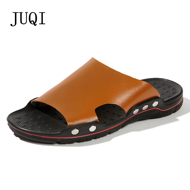 2018 New Fashion Summer Shoes Men's Slippers PU Leather Beach Sandals Men Casual Shoes Flip Flops Big Size new 2018 big size 8 11 shoes women sandals 2017 shoes summer fashion slippers womens flip flops high quality casual flats
