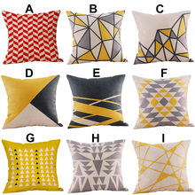 2018 45cm*45cm Multi-color Mustard Pillow Case Yellow Geometric Fall Autumn Cushion Cover Decorative Hot(China)