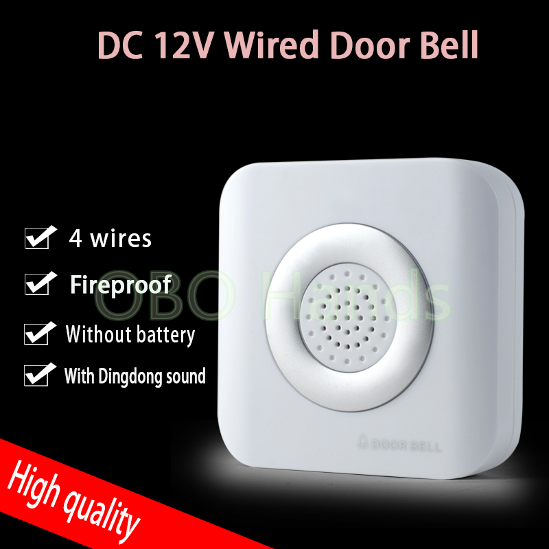 DC12V wired door bell with 4 wires for hotel/apartment/house access control system fireproof ABS dingdong bell without battery шапка globe ryley beanie plum marle