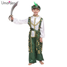 Umorden Green Child Arabian Prince Costume for Boys Aladdin Costumes Suit Carnival Halloween Party Fantasy Cosplay Dress Up