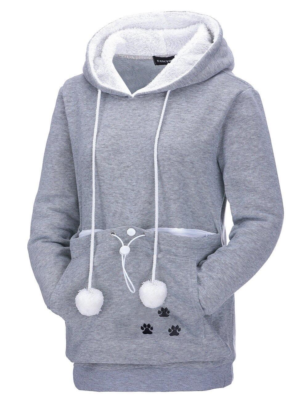 17 New Cartoon Hooded Hoodies Lover Cats Kangaroo Dog Hoodie Long Sleeve Sweatshirt Front Pocket Casual Animal Ear Hoodie 38
