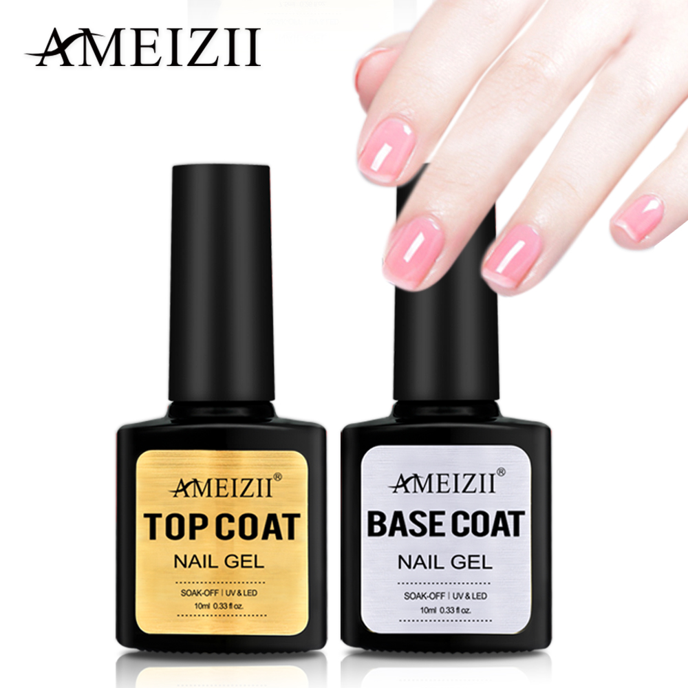 AMEIZII Top Base Coat Soak Off Gel Nail Polish UV LED Primer Builder Gel Varnish