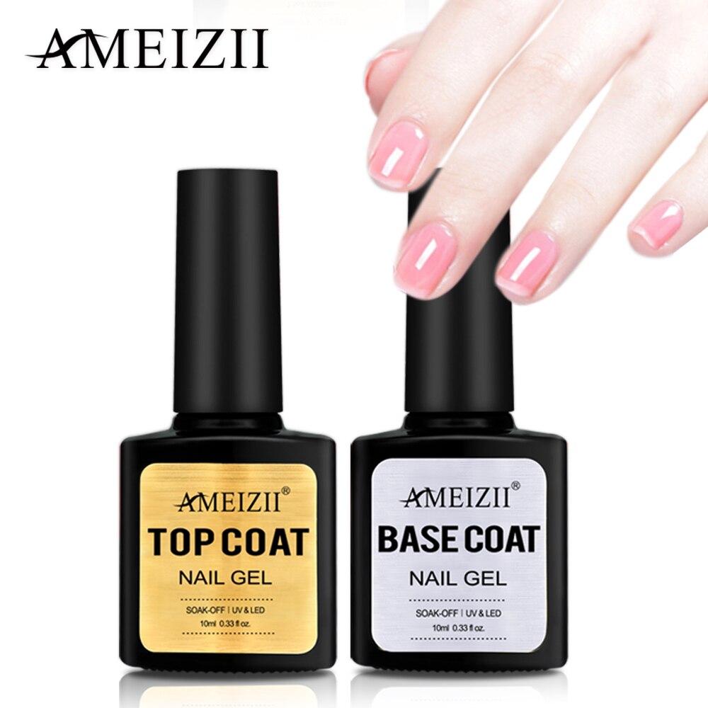 AMEIZII Top Base Coat Soak Off Gel Nail Polish UV LED Nail - Onetime