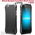 I6 Luxo Luphie Aluminum Metal Frame + PU Etiqueta De Couro de Volta Caso para iphone 5 5s 6 6 s/6 plus/6 s plus ultra design slim caso