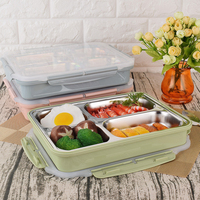 Creative Bento Box Food Storage Container Can Be Heated High Quantity 304 Steel Portable food Bento Box Dinnerware Sets