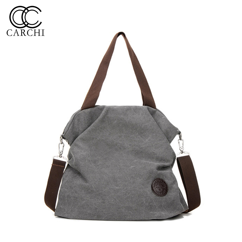 Women`s Canvas Handbags High Quality Female Shoulder Bags Casual Crossbody Bag Vintage Solid Multi-pocket Ladies Tote bolsas 1