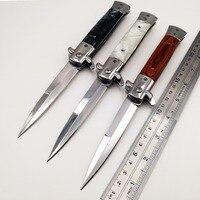 Итальянский складной нож Godfather 440C Лезвие акриловые деревянные ручки карманные ножи для кемпинга выживания Тактические быстро открытые EDC и...
