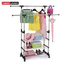 Magic Union Double Poles Drying Rack Multifunctional Clothing Hanger Organizer Coat Stand Rack Laundry Drying Hangers