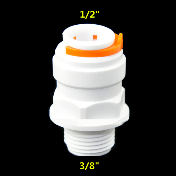 Free Shipping Straight 3/8 Male Thread to 1/2 Push Fit Tube Quick Connect Adapter for Reverse Osmosis Water System 5pcs 8mm od push in tube to 1 4bspt pt 12 5mm outer diameter male thread straight pneumatic tube quick fittings adapter