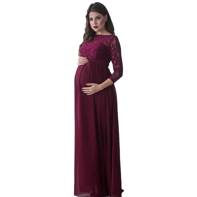542799e614c YJSFG HOUSE New Fashion Pregnant Women Lace Dresses Gown Maxi White Dress  Wedding Party Lace Photography Long Dresses Empire
