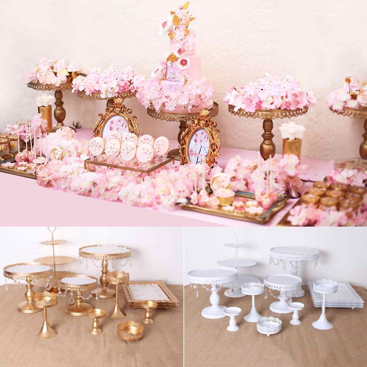 12PCS Gold White Cake Stand Set Round Metal Crystal Cupcake Dessert Display Tray Rack Wedding Decoration Kitchen Cake Tools