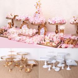 12 قطعة الذهب الأبيض كعكة الوقوف مجموعة مستديرة المعادن كريستال كب كيك الحلوى صينية العرض رف الزفاف الديكور أدوات المطبخ كعكة
