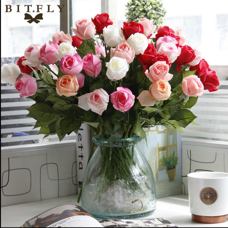 Artificial Fresh Rose Flowers Real Touch Rose Flower Home Decorations For Wedding Party Or Birthday Wedding Decoration Flower Clothing, Shoes & Accessories
