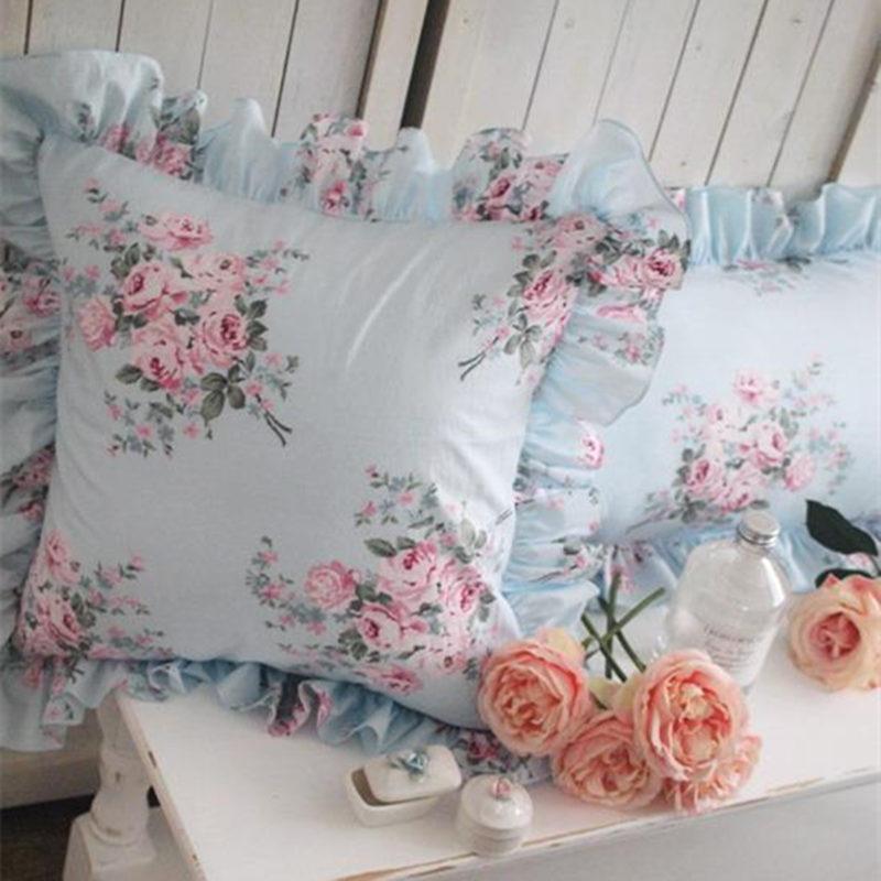 Blue Floral print cushion cover elegant ruffle pillow case bedding sofa pillowcase princess cushion decorative covers no filler