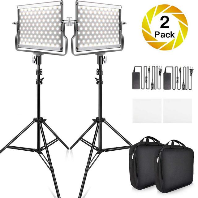 Travor 2 in 1 Bi-color L4500 LED Video Light kit studio light with U Bracket 3200K-5600K CRI96 photography lighting for YouTube