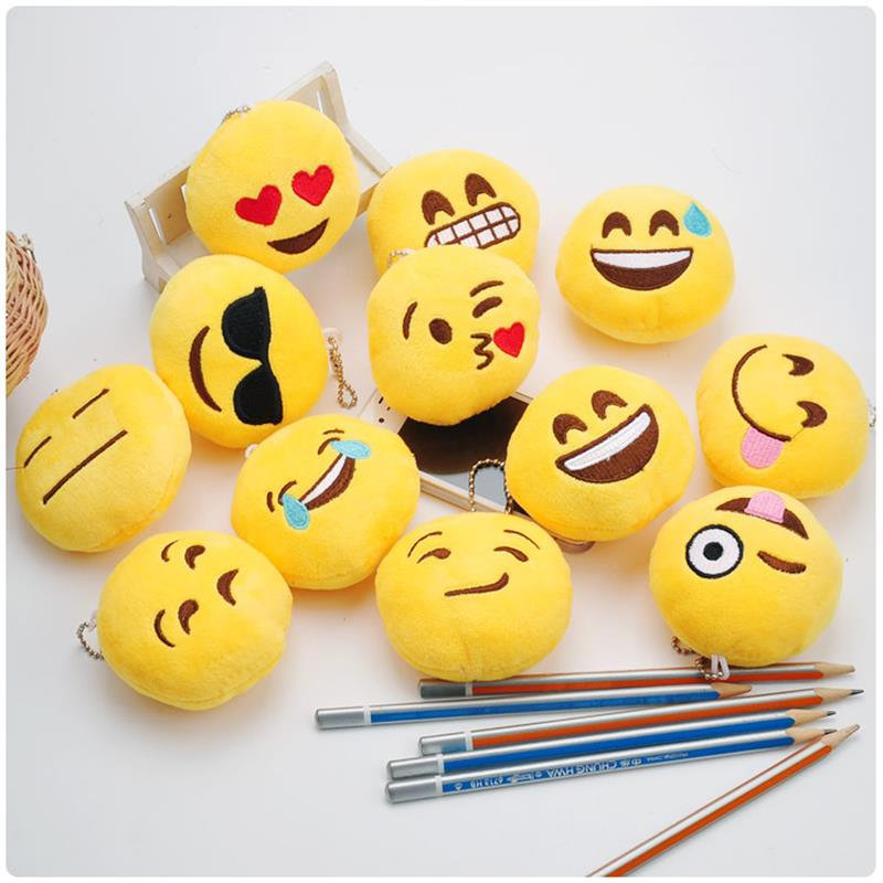 10pcs 12cm Super Cute Soft stuff Plush toy for children kids baby toy QQ expression doll small pendant key ring birthday gifts