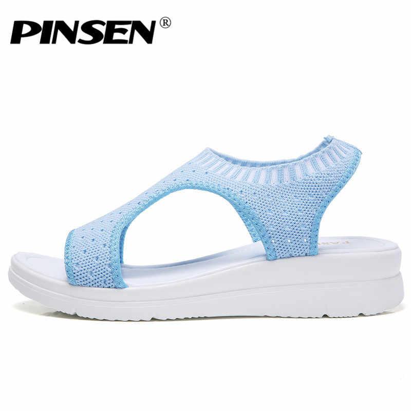 PINSEN 2020 sandalet kadın yaz ayakkabı nefes kadın ayakkabısı bayanlar üzerinde kayma düz platform sandaletler ayakkabı kadın Sandalias