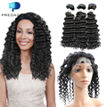 7A Pre Plucked 360 Lace Frontal with 3 Bundles Brazilian Virgin Hair Deep Wave Tissage Bresilienne Avec Closure High Quality