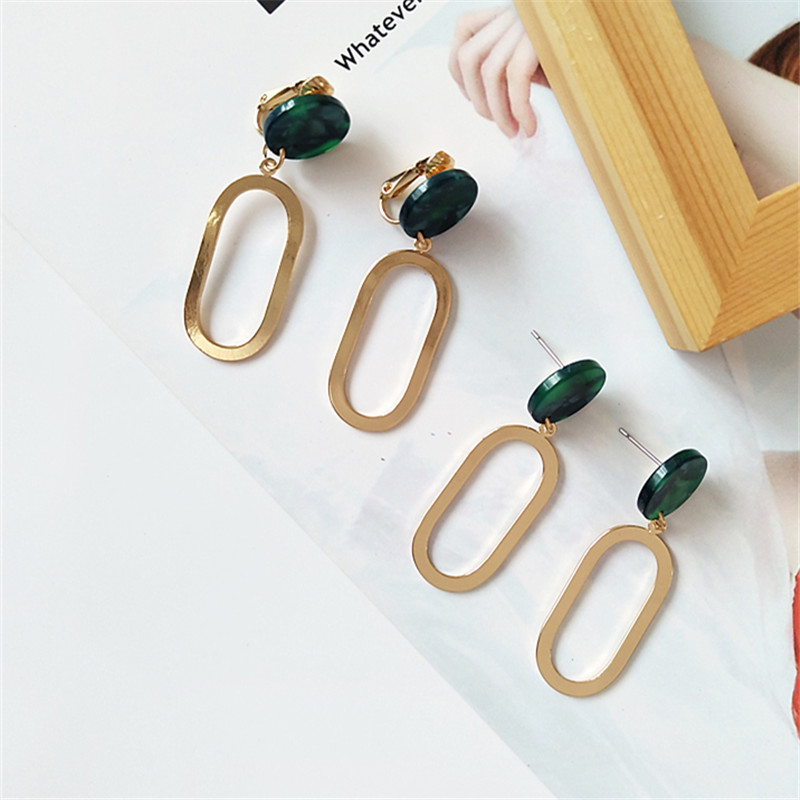 Retro personality earrings geometry delicate womens fashion metal jewelry 2018 The new color