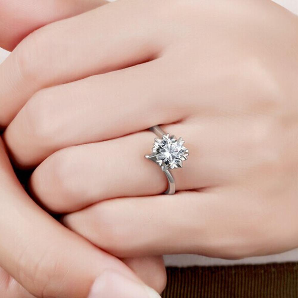 Luxury Classic Women Ring GVBORI Brand Ring 18k White Gold Natural ...