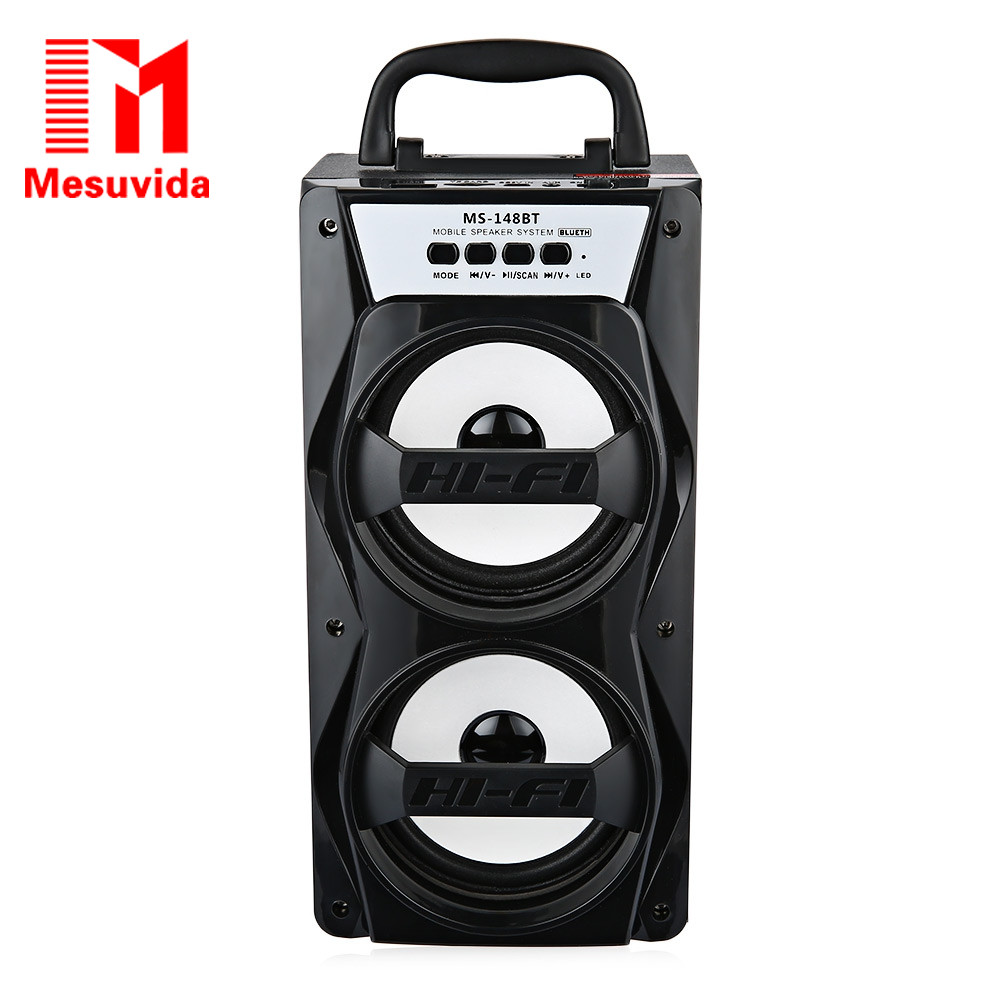 Mesuvida MS-148BT Portable Wireless Bluetooth Speaker High Power Output FM Radio with Strong Bass Audio Player Support TF Card