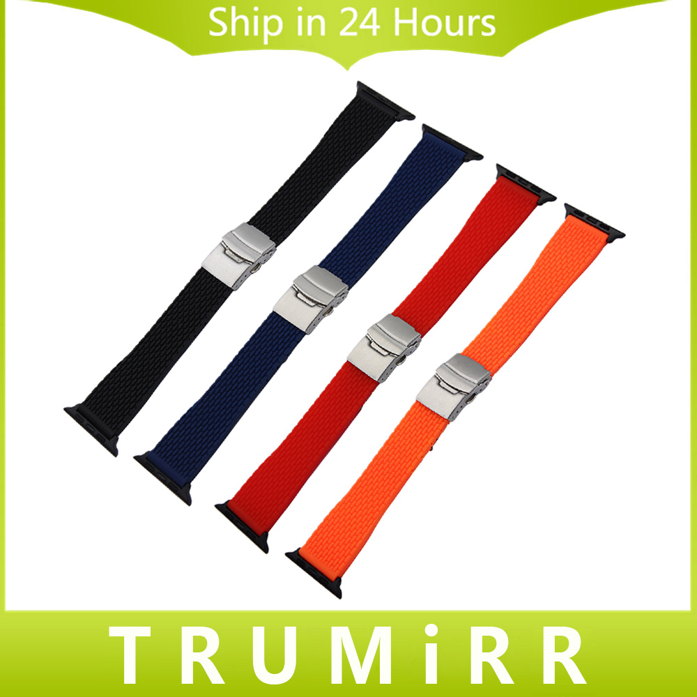 Silicone Rubber Watchband for iWatch Apple Watch 38mm 42mm Replacement Band Stainless Steel Safety Buckle Strap Wrist Bracelet 6 colors luxury genuine leather watchband for apple watch sport iwatch 38mm 42mm watch wrist strap bracelect replacement