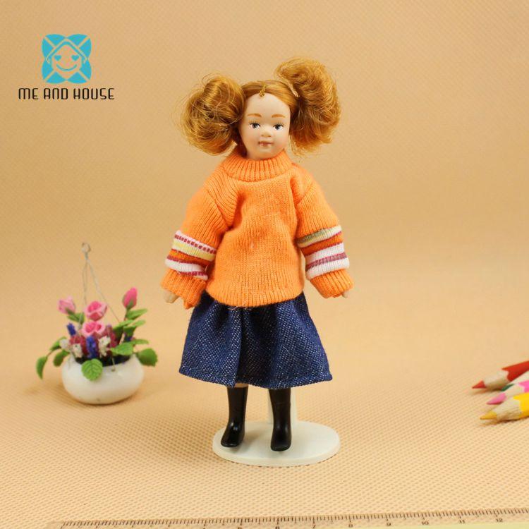 1:12 Кукольный Фарфор Orange свитер миниатюрные фигурки людей мини девочка кукла