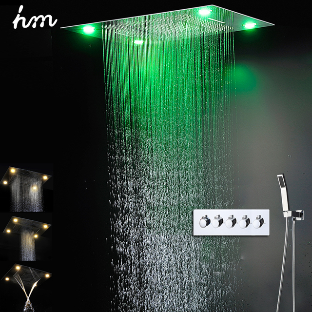 Bath & Shower Faucets Rainfall Waterfall Big LED Shower Set With Brass Hand Showers High Flow Rain Bath Unit Shower Faucet Sets
