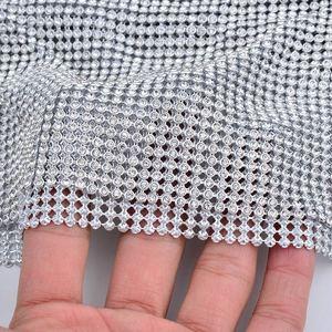 Image 4 - JUNAO 45*120 CM Glitter CLEAR Silver Rhinestone ตาข่ายผ้าคริสตัลริบบิ้น Glass Strass Applique เย็บโลหะตัดสำหรับชุด