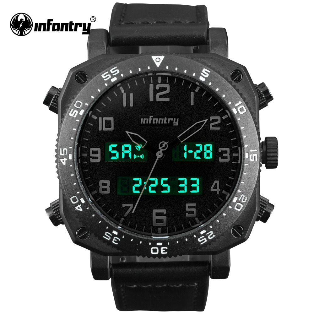 INFANTRY Military Watch Men LED Digital Quartz Mens Watches Top Brand Luxury 2018 Tactical Police Army Leather Relogio Masculino infantry army military watch men led digital quartz mens watches top brand luxury police square big tactical relogio masculino