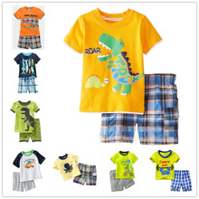 Купить с кэшбэком  children's home clothes boy cotton dinosaur style home service children's clothing summer   suit cartoon pajamas  2-7T  t005