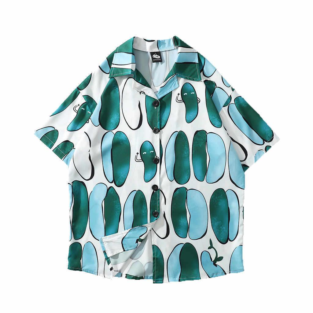 2019 новые для мужчин Гавайский летняя с цветочным принтом пляжные короткий рукав лагерь рубашка Топы Блузка Рубашки May2