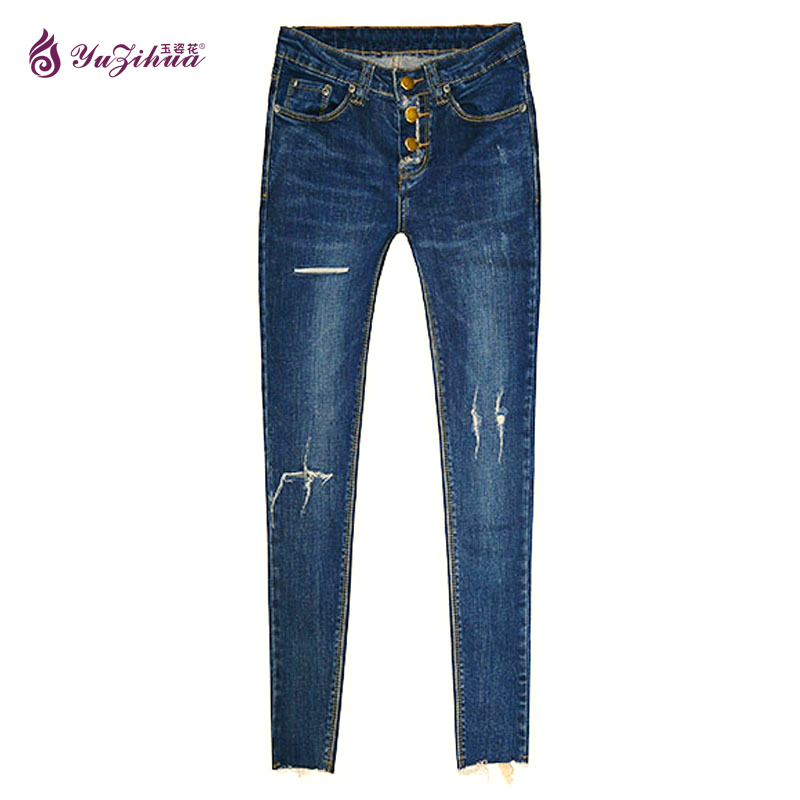 2017 Elasticity Ripped Jeans For Women Jeans With High Waist Calca Jeans Feminino Ankle-Length Woman Denim Jeans Pantalon Femme large size jeans for women spring new washing beading denim pants 2017 ripped jeans high waist slim ankle length pantalon femme