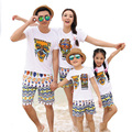 Free Shipping 2017 New beach Summer Family Matching Outfits Maya design mother Girl father Boy sets white T shirt + shorts Pants