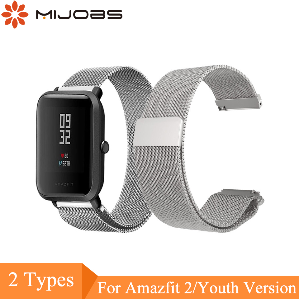 Mijobs 20mm 22mm Stainless Steel Milanese Loop Wrist Strap for Huami Xiaomi Amazfit Bip BIT PACE Lite Youth Smartwatch Bracelet