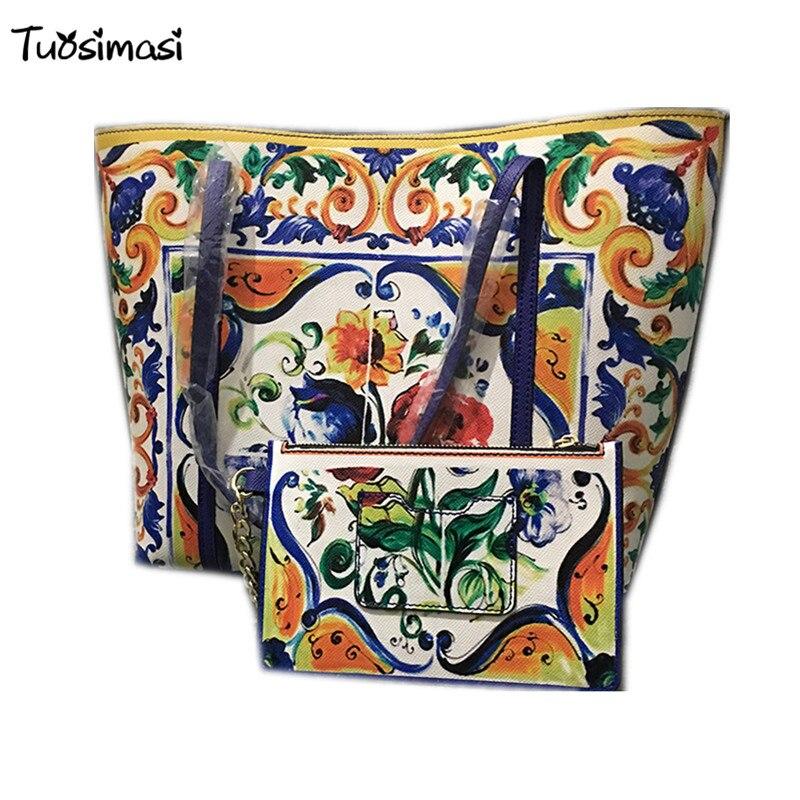 2018 runways split leather vintage retro print Blue and white porcelain small purse + big women Handbags(HB001) rabbit print split top