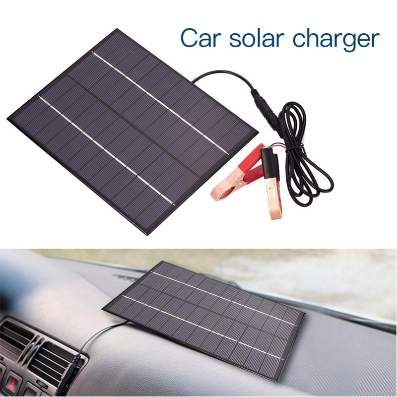 12V 5.5W Solar Panel Portable Power Bank Board External Battery Charging Solar Cell Board DIY Clips Outdoor Travelling