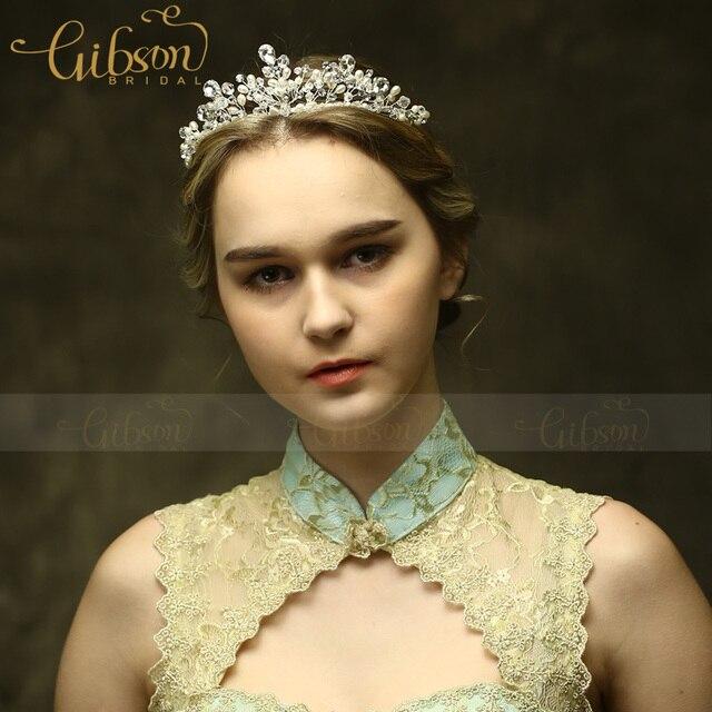 Free Shipping 3Pcs Lot Gibsonbridal New Crystal and Pearls Wedding Headband Princess Crown