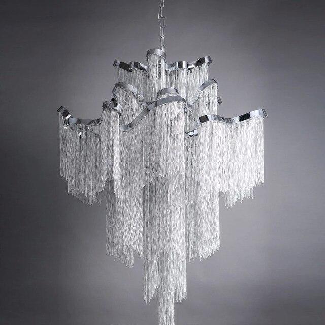 Retro European Top Grade Curtain Type Hotel Villa Project Lamp Luxury Waterfall Chandelier 1m