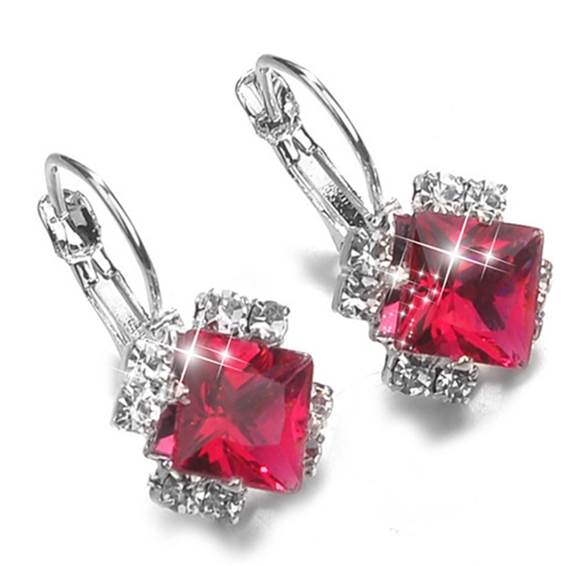 Fashion 2018 Stone Rhinestones White Red Square Crystal Drop Earrings For Women Statement Wedding Jewelry Pendientes Mujer