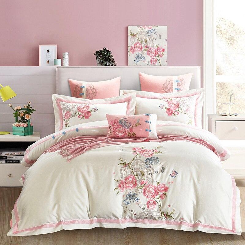 4/7pcs Egyptian cotton Embroidery Duvet Cover Sets King Size Bedding Sets Pillowcases jogo de cama Bed Linen