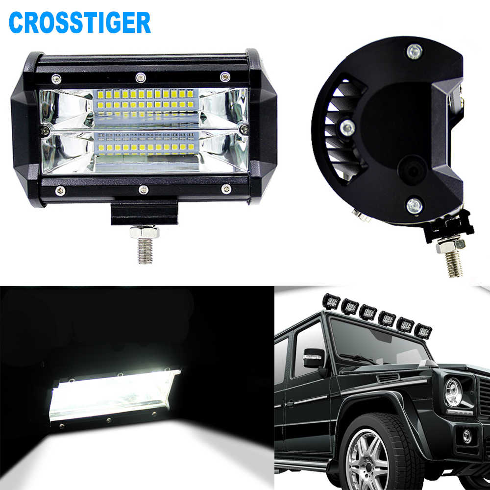 72W LED Bar Spot Light Car Driving Light Bulbs For Motorcycle Tractor Off Road ATV UTV SUV Jeep DRL Led Work Light With Bracket