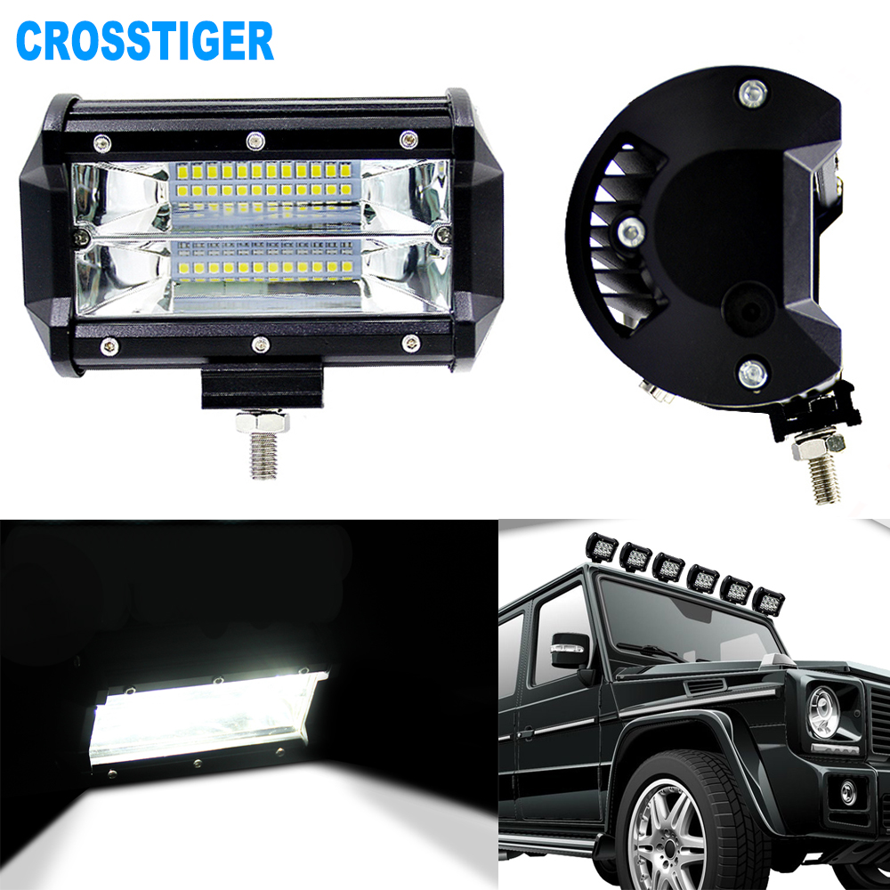 72W LED Bar Spot Light Car Driving Light Bulbs For Motorcycle Tractor Off Road ATV UTV SUV Jeep DRL Led Work Light With Bracket-in Light Bar/Work Light from Automobiles & Motorcycles