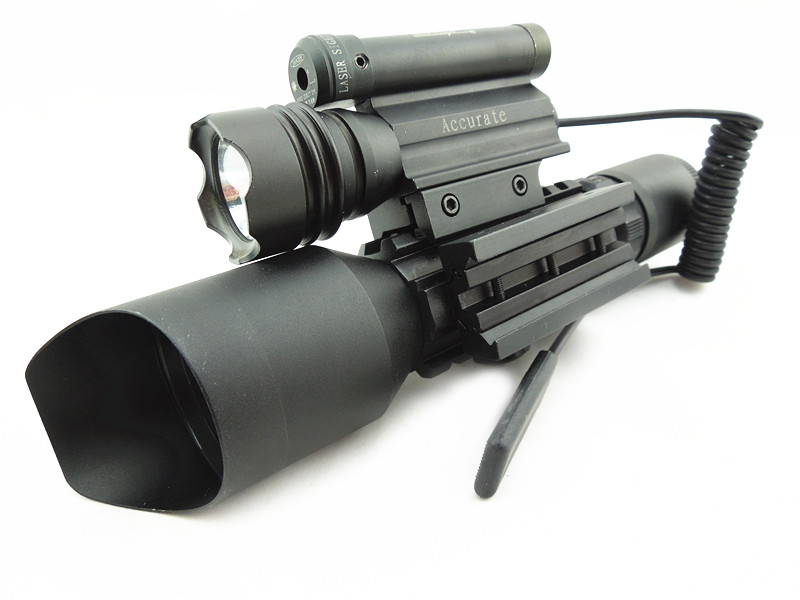 3 in 1 Compact Combo M9D Rifle Scope w/ Side Mounted Laser Sight and Flashlight Tactical Red Green Illuminated Riflescope